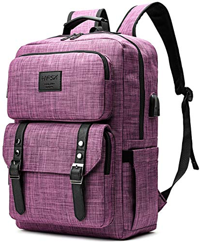 Laptop Backpack Women Men College Backpacks Bookbag Vintage Backpack Book Bag Fashion Back Pack Anti Theft Travel Backpacks with Charging Port fit 15.6 Inch Laptop