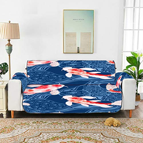 WYYWCY Traditional Style Lucky Fortunate Koi Fish Sofa Cushion Covers Sofa Cushion Tewene Couch Cover Sofa Cover 66'(168cm) For 3 Seat Machine Wash Arm Chair Cover