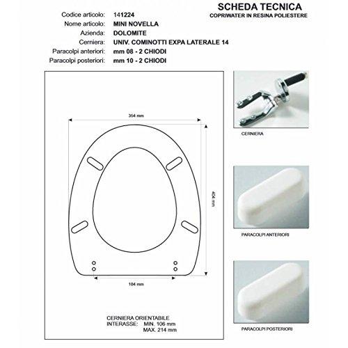 ACB/COLBAM Copriwater in Legno Rivestito di Poliestere per Dolomite Novella/Mini Bianco Cerniera Cromo-Sedile-ASSE WC