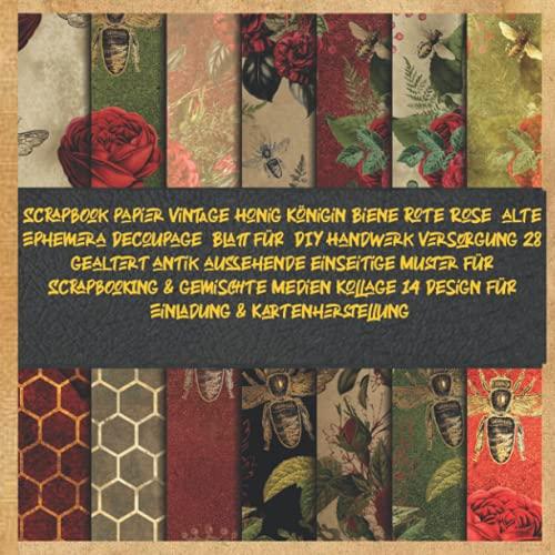 Scrapbook papier Vintage Honig Königin Biene rote Rose alte Ephemera Decoupage Blatt für DIY Handwerk Versorgung 28 gealtert antik aussehende ... 14 Design für Einladung & Kartenherstellung