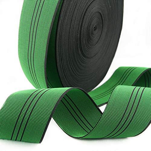 ZAIONE Banda de tapicería de látex verde elástica de 5 cm de ancho x 12 metros para sofá, silla, reparación de muebles, material de repuesto elástico artesanal