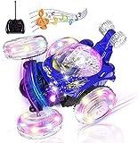 Stunt Coche Teledirigido Rotación 360 RC Car Crawler Twisting Vehicle 2.4GHZ Radiocontrol Teledirigido Juguete Todoterreno con Luces Música para Niños Adultos Regalo,Azul,14cm