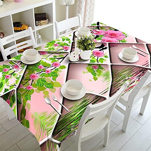 Mantel Antimanchas Rectangular Manteles Cáñamo de terciopelo Poliéster Tablecloth Lavable Mantel Exterior Cumpleaños Fiesta para Cocina Cena Picnic Decoración de Mesa Flor rosa 60x60cm/24x24Inch Z6349