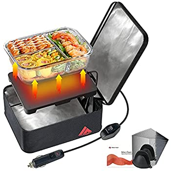 SabotHeat Portable Car Microwave - 12V 90W Mini Personal Car Oven with On/Off Switch for Reheating & Raw Food Cooking Fast Heating Food Warmer for Trip Outdoor Work Camping  Black
