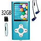 Hotechs MP3-Player/MP4-Player, MP3-Player mit 32 GB Speicherkarte, schlankes Design, digitales LCD-Display, 4,6 cm (1,8 Zoll) Display, Mini-USB-Port mit FM-Radio, Sprachaufnahme