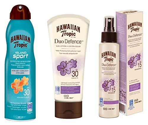 Hawaiian Tropic - Urban Anti-Pollution PACK - Anti-Pollution Sonnenschutz-Kit Duo Defense SPF 30 + Anti-Pollution Gesichtsnebel Duo Defense SPF 15 + Solar Island Sport Mist Anti-Sweat SPF 30