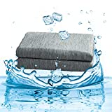 BEDCHOICE Cooling Blanket Absorbs Body Heat to Keep body Cool on Warm Nights,Breathable Silk Feel Summer Blanket for Adults, Children, and Babies, Japanese Q-Max 0.4 Cooling Fiber(Grey, Twin(60'×80'))