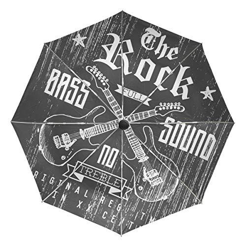 The Rock - Paraguas de madera resistente al viento, resistente al agua, protección UV, 3 pliegues de apertura y cierre automáticos, paraguas de coche para sol y lluvia