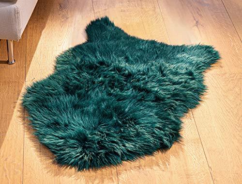 """Kunstfell """"Tannengrün"""" in grün, 60x90 cm, Dekofell, Hochflor Imitat, Teppich, Sitzauflage, Läufer, Stuhlauflage"""