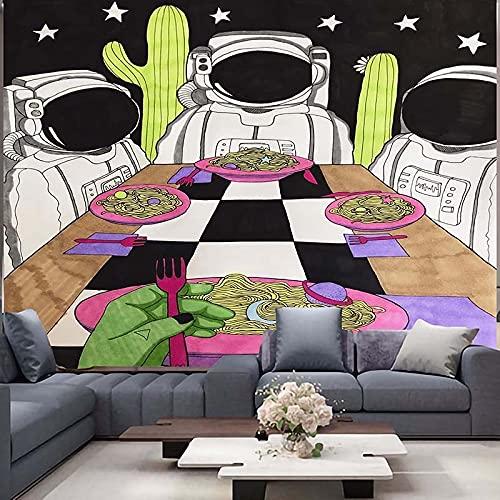 KHKJ Tapiz de Astronauta y arcoíris Mandala brujería Hippie Tapiz de macramé decoración Boho Tapiz Colgante de Pared A13 230x180cm