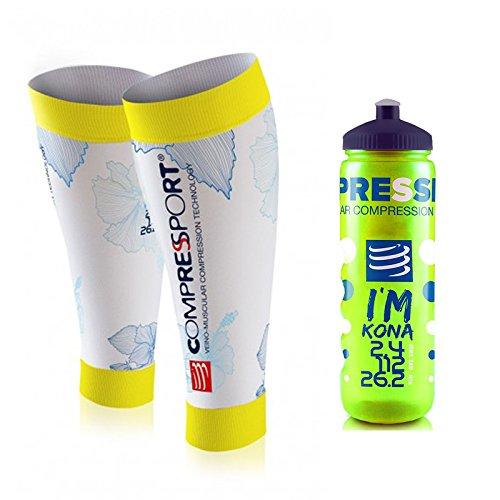 Compressport Calf R2 Sleeves Ironman KONA T2 + Free Bottle