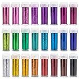 INGALA 24 colores de purpurina para manualidades y...
