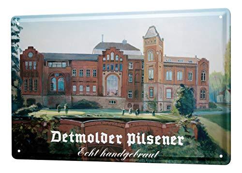 LEotiE SINCE 2004 Blechschild Nostalgie Bier Deko Detmolder Pilsner Brauerei Zeichnung Wandschild 20X30 cm