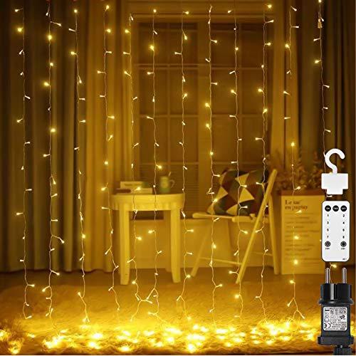 306 LED Lichtervorhang, Opard 3mx3m Lichterketten Vorhang Strombetrieben, Lichterkettenvorhang mit 8 Modi, IP65, Speicherfunktion für Weihnachten, Partydekoration, Hochzeit, Innen/Außen Dekoration