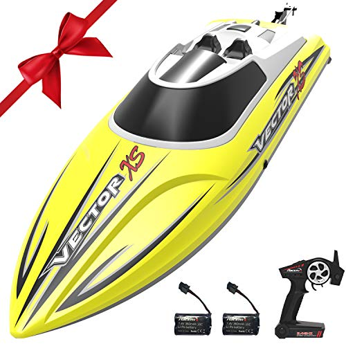 VOLANTEXRC Remote Control Boat RC Boat for Pool and Lakes, 20mph High Speed RC Boat VectorXS with Self-righting Feature, Reverse Function for Kids or Adults (795-4 Yellow) …