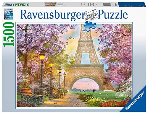 Ravensburger Puzzle Paris, Amore a Parigi, Puzzle 1500 pezzi, Relax, Puzzles da Adulti, Dimensione: 80x60 cm, Stampa di alta qualità, Travel, Viaggi