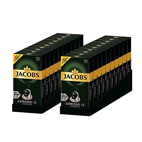 Jacobs Espresso Ristretto - Nespresso® * -kompatible Aluminium-Kaffeekapseln - 20 Packungen mit 10 Kapseln (200 Getränke)