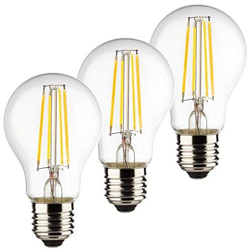 Müller-Licht 3er-SET Retro-LED Birnenform ersetzt 40 W, Glas, E27, 4 W, Silber, 6 x 6 x 10.6 cm, 3 Einheiten