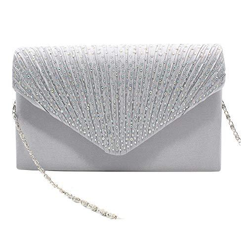 1PC del Rhinestone del bolso de embrague de cristal brillante de la tarde del sobre del bolso del monedero del bolso para el partido de la boda de fiesta (plata)