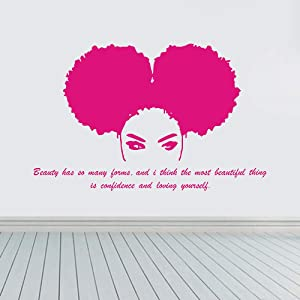 JUEKUI Beautiful Tribal African Woman Wall Sticker Beauty Salon Africa Girl Decal Quote Home Decor Bedroom Living Room Stickers WS72 (Hot Pink)