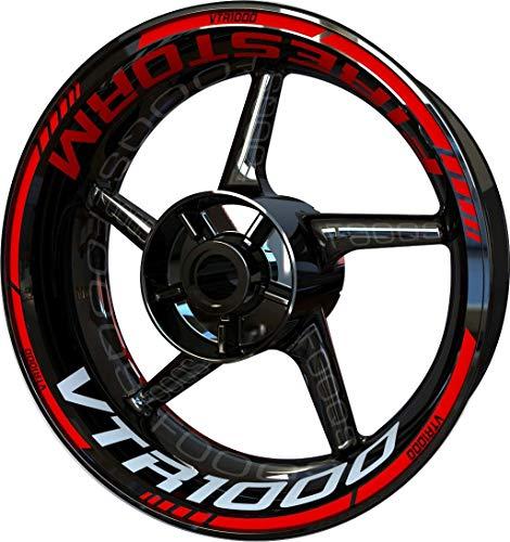 Motocicleta Moto Llanta Inner Rim Tape Decal Pegatinas F2 para Honda VTR 1000 VTR-1000 (Rojo)