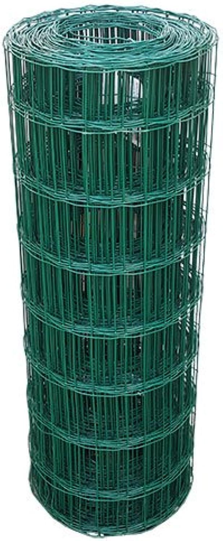 Garden Mesh Green PVC Coating 25m x 80cm, 100mm x 75 mm 2.1mm filo denso