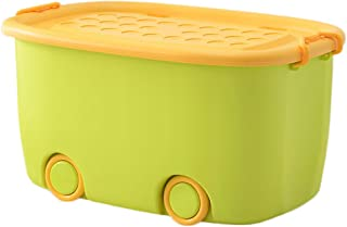 HBWJSH Large Children's Storage Box Plastic Toy Clothes Storage Box Storage Box Box with Pulley Storage Box with Cover (Color : Orange, Size : 47.5 * 32 * 26CM)