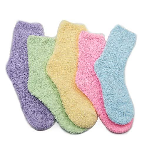 Azue Kuschelsocken Damen Süße Socken Mädchen Warme Socken Extrem Weich 5/6 Paare Set, E 5 Paare Einfarbig, Einheitsgröße