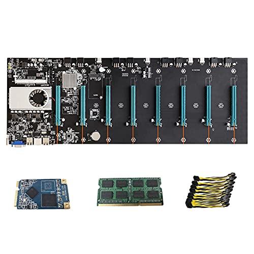 Motyy Placa Base de MineríA Sin Elevador 8Cpu Bitcoin Crypto Etherum Mining con 8Gb Ddr3 128Gb Msata Ssd 10X8Pin Cable de AlimentacióN (Azul)