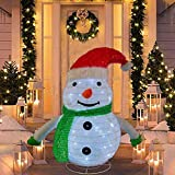 SNOWSTORM 2FT Christmas Snowman 60 LED Warm White with Twinkle Lights, Foldable/Pop Up Decorations Snowman for Xmas Indoor Outdoor Decor