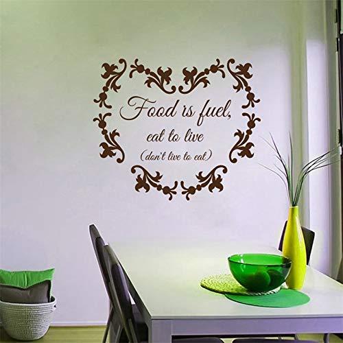 Ajcwhml Calcomanías de Pared La Comida es Combustible Comer para Vivir Salud Medicina Dieta Estilo de Vida Saludable Cita Pegatina Cocina Vinilo Decoración Murales de habitación 79x68cm