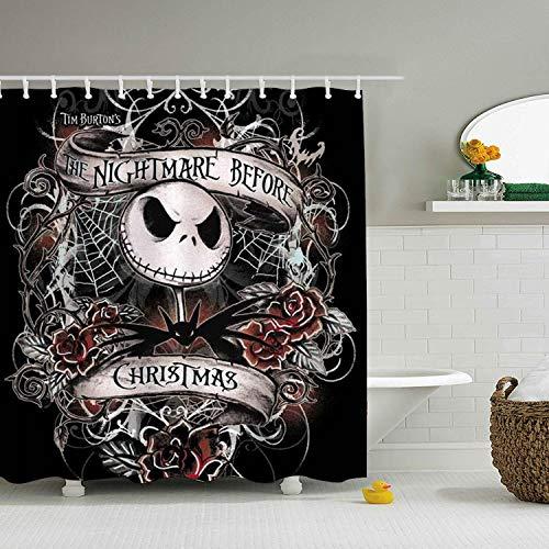 Custom Shower Curtain Nightmare Before Christmas Art Extra Long Bathroom Curtains for Housewarming Gift