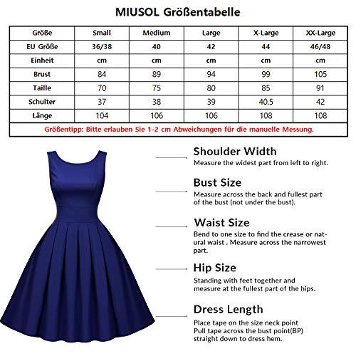 Miusol Rundhals Trägerkleid 1950er Retro Cocktailkleid Faltenrock Kleid Navy Blau - 3