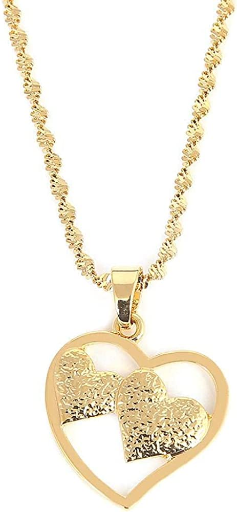 Trendy Heart Pendant Necklace Gold Color Romantic Love Fashion Women Girl Chain Jewelry Gift