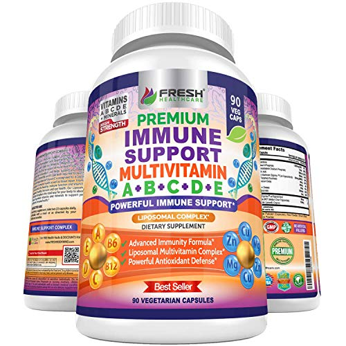 Immune Support Multivitamin for Men and Women with Vitamins A, B, C, D, E, B6, B12 - Zinc, Magnesium and Copper with Liposomal Complex for Enhanced Absorption - Daily Antioxidant Boost - 90 Vegan Caps