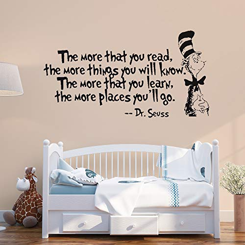 Supzone Dr Seuss Wall Stickers Quotes The More That You Read The More You Will Know Sayings Wall Decals Kids Baby Nursery Bedroom Classroom Playroom Living Room Wall Decor