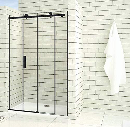 Aica Sanitär 100x200cm Duschtür Verstellbereich von 97-100 cm Duschabtrennung Nischentür Dusche Schwarz aus 8mm Sicherheitsglas mit Nanobeschichtung