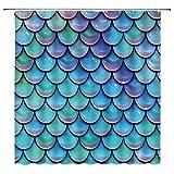 Mermaid Scales Shower Curtain Blue Purple Fish scales Glare Ocean Sea Aqua Teal Princess Fairy Tale Mermaid Tail Geometric Decor Fabric Bathroom Curtain Set Polyester 70x70 Inch 12 Pack Plastic Hooks
