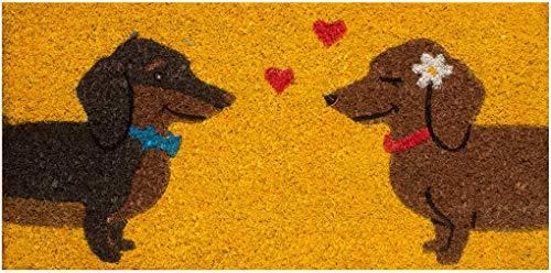 Felpudo de entrada casa coco con base de PVC pintado a mano perros salchicha 50x25x2 cm. Fácil de limpiar y ultra resistente