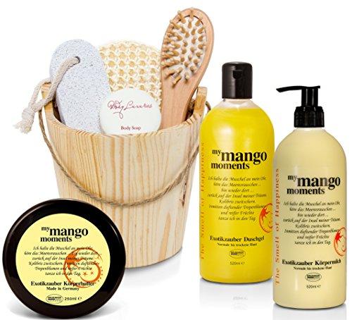 BRUBAKER Happiness My Mango Moments Body Lotion, Duschgel, Körperbutter Mango und Miniatur Kosmetik Set im Holzkübel