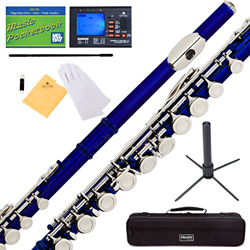 Mendini Blue Closed Hole C Flute with Tuner, Stand, 1 Year Warranty, Case, Cleaning Rod, Cloth, Joint Grease, and Gloves - MFE-BL+SD+PB+92D