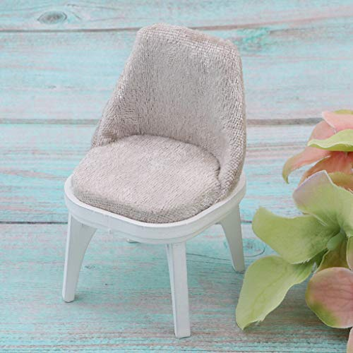 NATFUR Miniature Floral Wooden Chair Stool Dining Room Furniture 1/12 Dollhouse C
