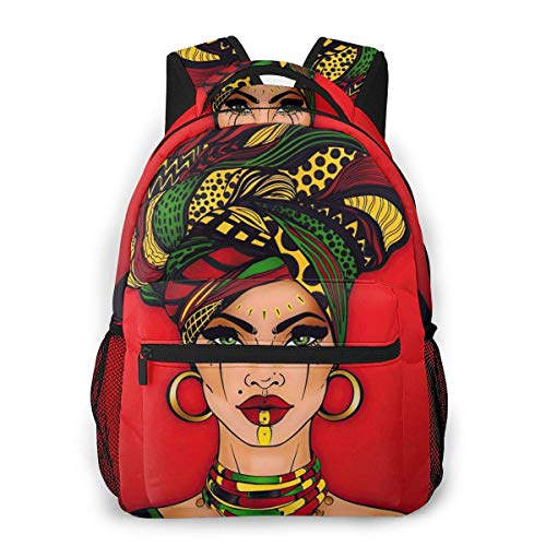 IUBBKI Cool Red Woman Casual Backpack Lightweight Canvas Daypack School Backpacks Holds 14' Laptop Versatile Design Zippered & Secure Pockets Bookbag with Bottle Side Pockets