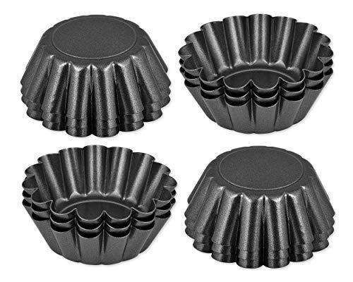 SCSpecial 6,5 cm Antiadherente Mini Sartenes Tartas Set de 12 piezas DIY Individual Redondo Molde para muffins Moldes para hornear