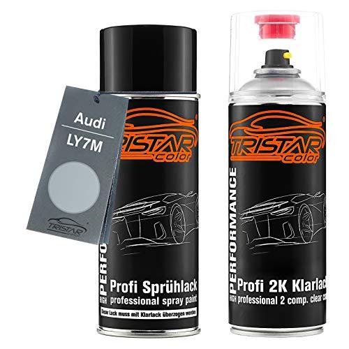 TRISTARcolor Autolack 2K Spraydosen Set für Audi LY7M Alusilver Metallic/Alusilber Metallic Basislack 2 Komponenten Klarlack Sprühdose