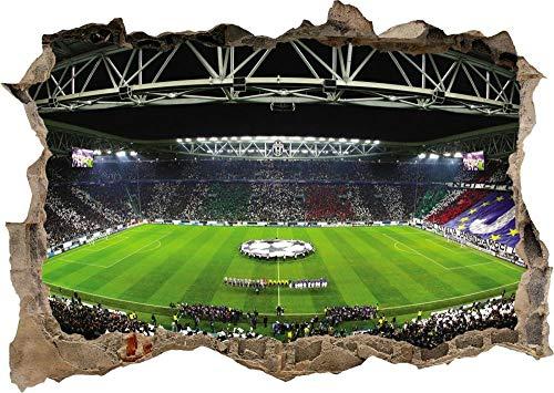 3D Wanddeko fürs Kinderzimmer Effekt Wandtattoo Italien Team Football Club Stadium Aufkleber Durchbruch selbstklebendes Wandbild Wandsticker Wanddurchbruch Wandaufkleber 50x75cm