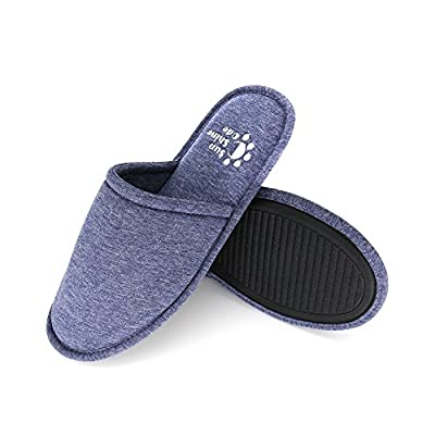 Sunshine Code Men's Memory Foam Cotton Washable Slippers with Matching Travel Bag for Home Hotel Spa Bedroom, M, Navy by Sunshine Code