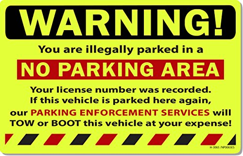 """50 Yellow Fluorescent Warning NO Parking Area! Violation No Parking Towing Car Auto Sign Stickers 8"""" X 5"""""""