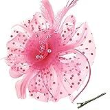 DRESHOW Fascinators Hut Blume Mesh Bänder Federn auf einem Stirnband und einem geteilten Clip Cocktail Tea Party Headwear für Mädchen und Frauen,Rosa,Einheitsgröße