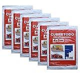 Plástico Cubretodo Protector Multiuso para tapar Suelos, muebles, puertas, ventana Interior y Exterior (4x5 m, 6 Micras básico 6 piezas)